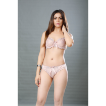 Losha See Through Full Coverage Wired Bra With Hipster Brief