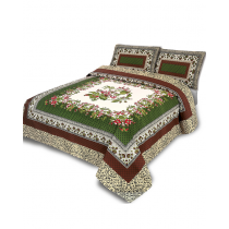Platinum By Galaxy Green & Brown Cotton King Size Bedsheet