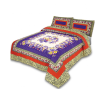 Platinum By Galaxy Purple & Red Cotton King Size Bedsheet